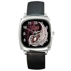 Yinyang Square Leather Watch