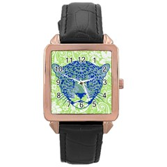 Cheetah Alarm Rose Gold Leather Watch  by Contest1738807