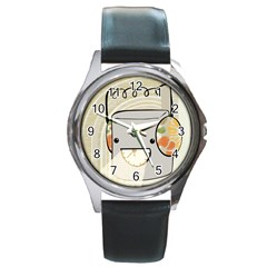 Happy Beam Round Leather Watch (silver Rim) by RachelIsaacs