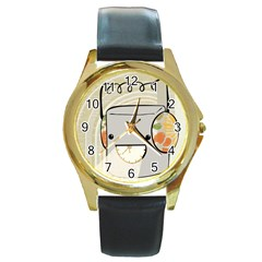 Happy Beam Round Leather Watch (gold Rim)  by RachelIsaacs
