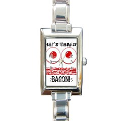Whats Shakin Bacon? Rectangular Italian Charm Watch by Contest1804625