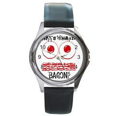 Whats Shakin Bacon? Round Leather Watch (Silver Rim) by Contest1804625