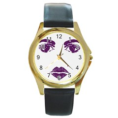 Beauty Time Round Leather Watch (gold Rim)  by Contest1704350