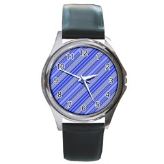 Lines Round Leather Watch (silver Rim) by Siebenhuehner
