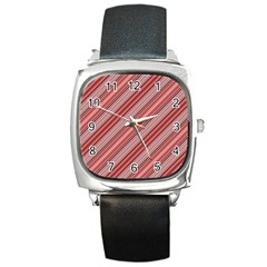 Lines Square Leather Watch by Siebenhuehner