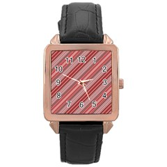 Lines Rose Gold Leather Watch  by Siebenhuehner
