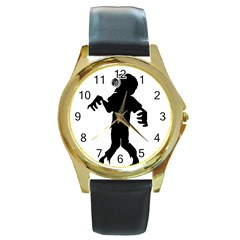 Zombie Boogie Round Leather Watch (gold Rim)  by willagher