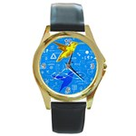 hardlyBoys-bluter Round Gold Metal Watch