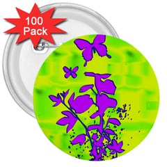 Butterfly Green 3  Button (100 Pack)