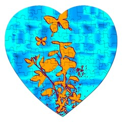 Butterfly Blue Jigsaw Puzzle (heart) by uniquedesignsbycassie