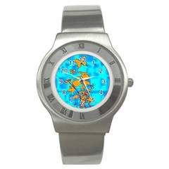 Butterfly Blue Stainless Steel Watch (slim) by uniquedesignsbycassie