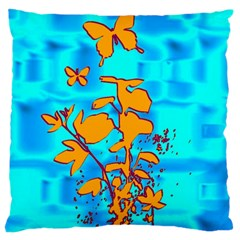 Butterfly Blue Large Cushion Case (two Sided)  by uniquedesignsbycassie