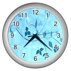 Floral Blue Wall Clock (silver) by uniquedesignsbycassie
