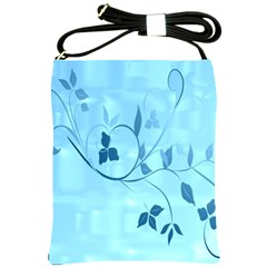 Floral Blue Shoulder Sling Bag by uniquedesignsbycassie