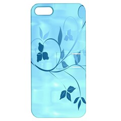 Floral Blue Apple Iphone 5 Hardshell Case With Stand by uniquedesignsbycassie