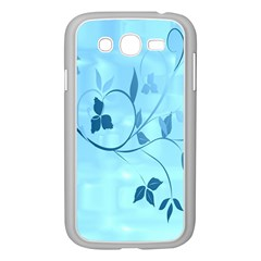Floral Blue Samsung Galaxy Grand Duos I9082 Case (white) by uniquedesignsbycassie
