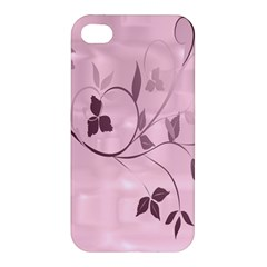 Floral Purple Apple Iphone 4/4s Hardshell Case by uniquedesignsbycassie