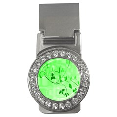 Floral Green Money Clip (cz) by uniquedesignsbycassie