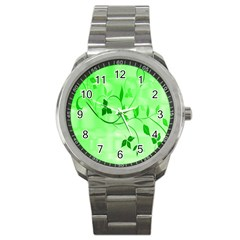 Floral Green Sport Metal Watch by uniquedesignsbycassie