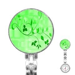 Floral Green Stainless Steel Nurses Watch