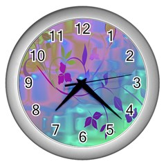 Floral Multicolor Wall Clock (silver) by uniquedesignsbycassie
