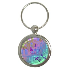 Floral Multicolor Key Chain (round)