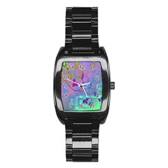 Floral Multicolor Stainless Steel Barrel Watch by uniquedesignsbycassie