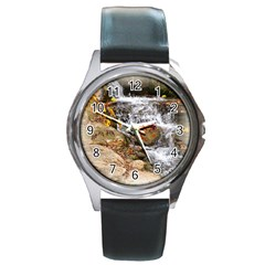 Waterfall Round Leather Watch (silver Rim) by uniquedesignsbycassie