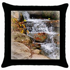 Waterfall Black Throw Pillow Case by uniquedesignsbycassie