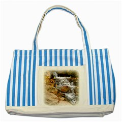 Waterfall Blue Striped Tote Bag by uniquedesignsbycassie