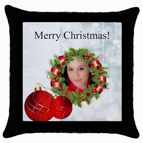 Merry Christmas By Debe Lee   Throw Pillow Case (black)   Pb7mc825qr32   Www Artscow Com Front