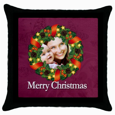 Merry Christmas By Debe Lee   Throw Pillow Case (black)   Pyvijd7vuont   Www Artscow Com Front