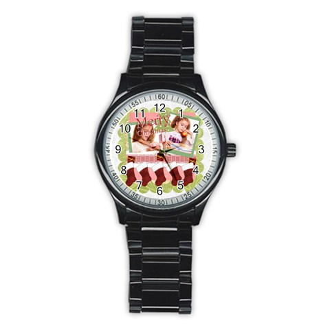 Merry Christmas By Joely   Stainless Steel Round Watch   Sp0s7x5y8wcw   Www Artscow Com Front