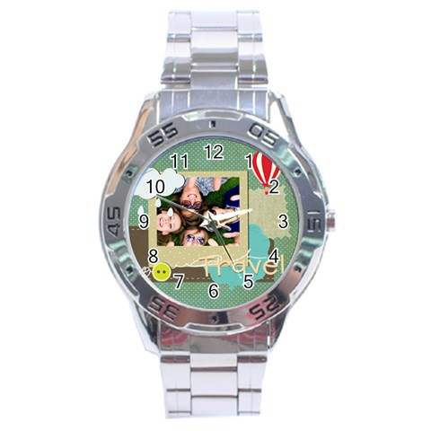 Travel By Travel   Stainless Steel Analogue Watch   S5a1g5rwa7eh   Www Artscow Com Front