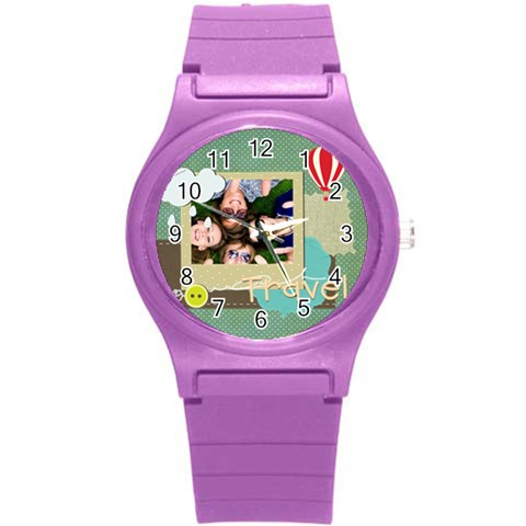 Travel By Travel   Round Plastic Sport Watch (s)   O63ts545bep3   Www Artscow Com Front