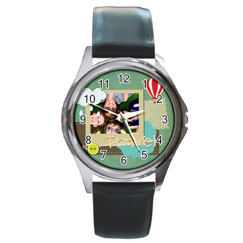 Travel By Travel   Round Metal Watch   57eaklj8m5d6   Www Artscow Com Front