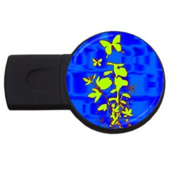 Butterfly Blue/green 4gb Usb Flash Drive (round) by uniquedesignsbycassie
