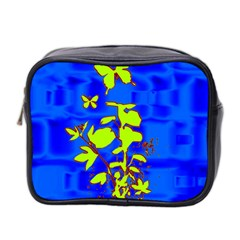 Butterfly blue/green Mini Travel Toiletry Bag (Two Sides)