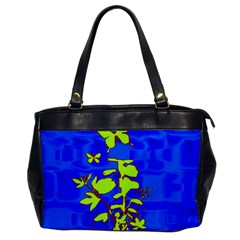 Butterfly Blue/green Oversize Office Handbag (one Side) by uniquedesignsbycassie