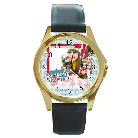 Merry Christmas By Merry Christmas   Round Gold Metal Watch   Gu96pupst78i   Www Artscow Com Front