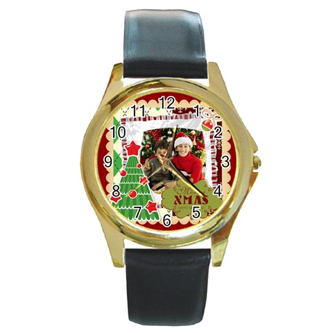 Merry Christmas By Merry Christmas   Round Gold Metal Watch   Dn68mtemzc04   Www Artscow Com Front