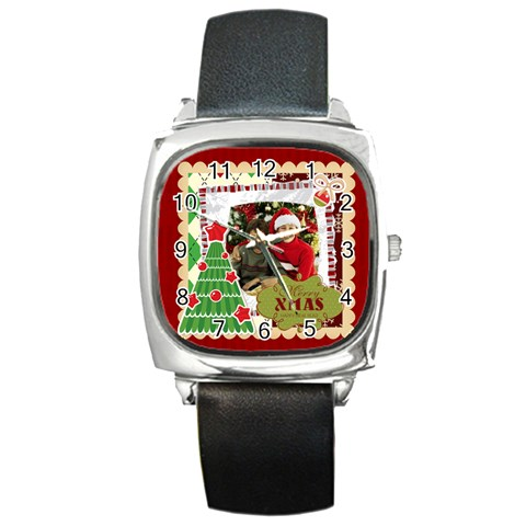 Merry Christmas By Merry Christmas   Square Metal Watch   Aw268g2qa4zu   Www Artscow Com Front
