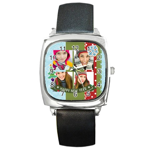 Merry Christmas By Merry Christmas   Square Metal Watch   3s2ih5nxaojf   Www Artscow Com Front