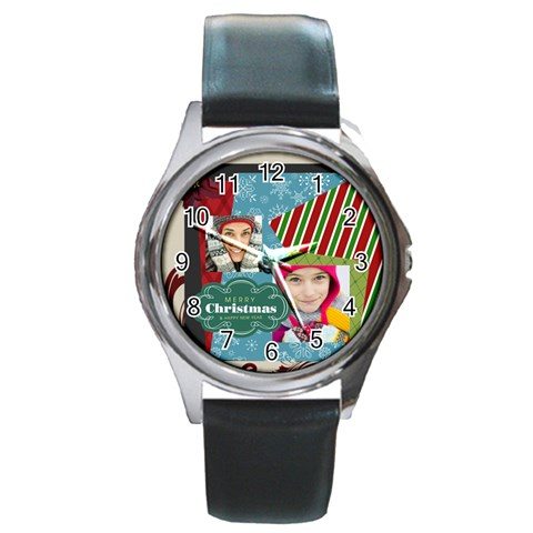 Merry Christmas By Merry Christmas   Round Metal Watch   2b6rkg2pkxou   Www Artscow Com Front