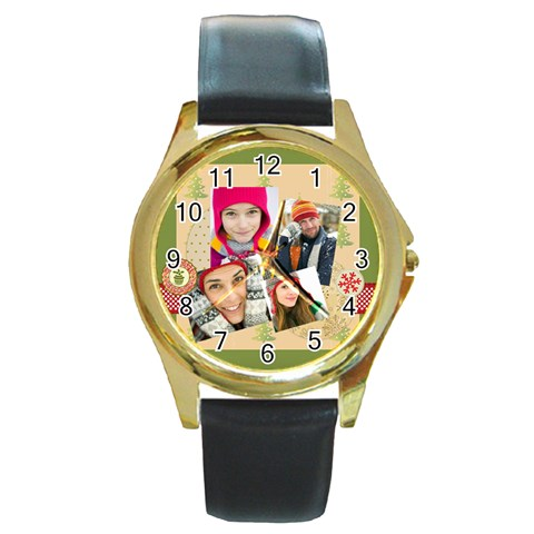 Merry Christmas By Merry Christmas   Round Gold Metal Watch   3o3ieqxnlgup   Www Artscow Com Front