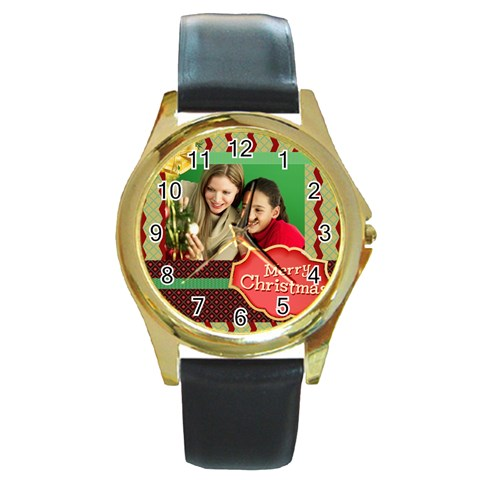 Merry Christmas By Merry Christmas   Round Gold Metal Watch   5bp5n96ty8uq   Www Artscow Com Front