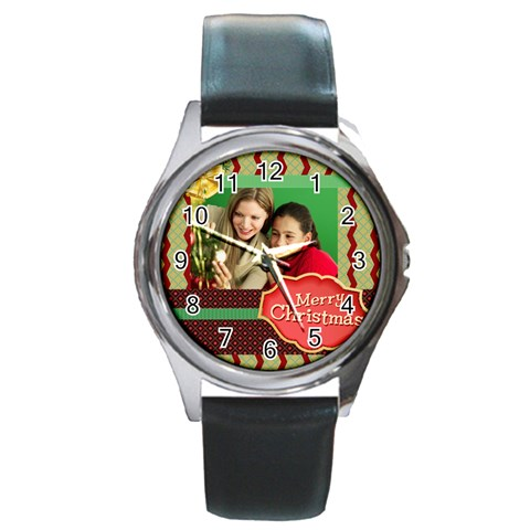 Merry Christmas By Merry Christmas   Round Metal Watch   1w9uimo6qhp9   Www Artscow Com Front