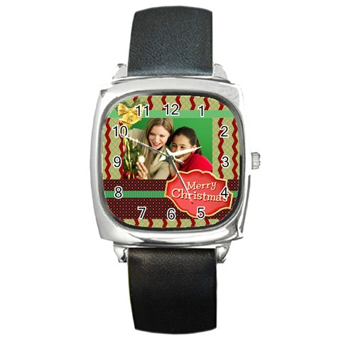 Merry Christmas By Merry Christmas   Square Metal Watch   Bxxfd7b65ljo   Www Artscow Com Front