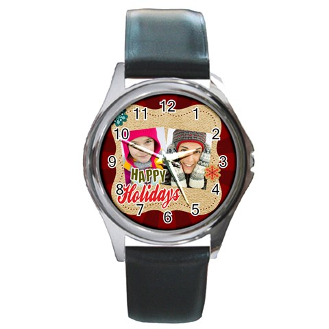 Merry Christmas By Merry Christmas   Round Metal Watch   Bwwgq1regz8y   Www Artscow Com Front
