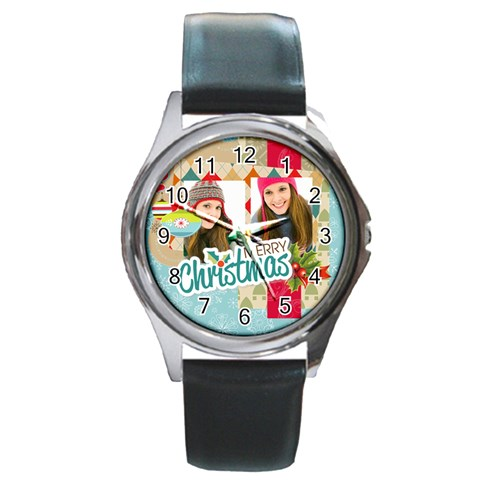 Merry Christmas By Merry Christmas   Round Metal Watch   07cv7w62t920   Www Artscow Com Front